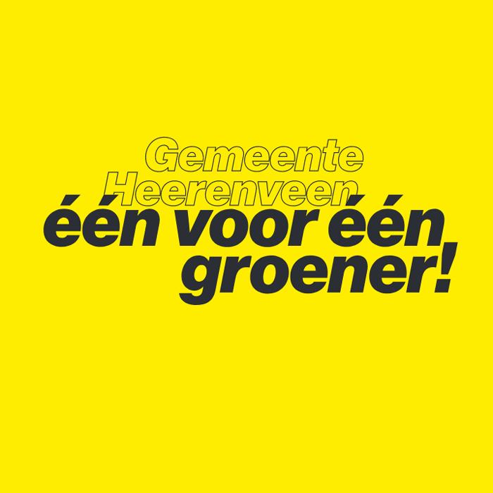 De tekst één voor één groener op een gele achtergrond