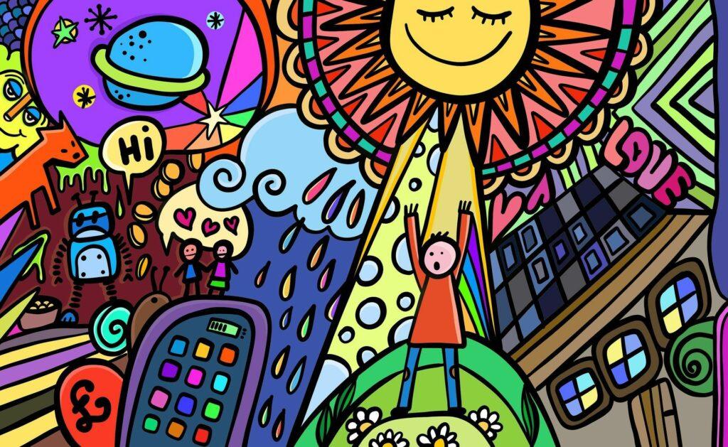vrolijke tekening zon schoolkind